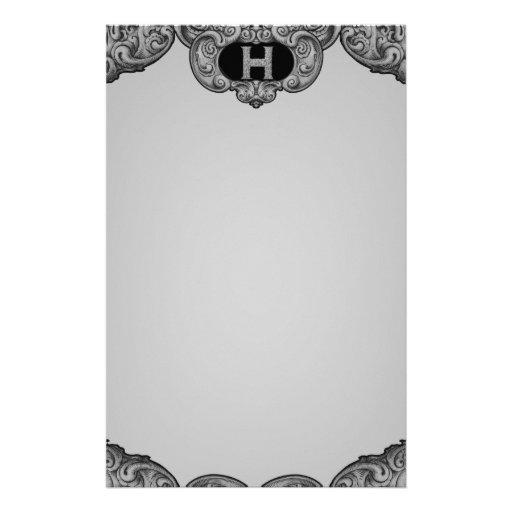H - The Falck Alphabet (Silvery) Stationery Design