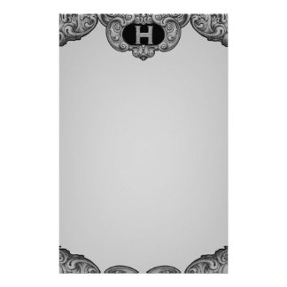 H - The Falck Alphabet Silvery Stationery Design
