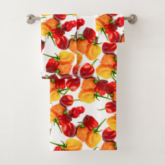 Habanero Chilies Red Peppers Orange Hot Food Bath Towel Set