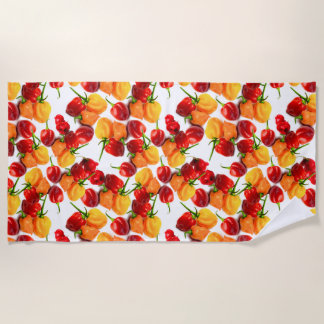 Habanero Chilies Red Peppers Orange Hot Food Beach Towel
