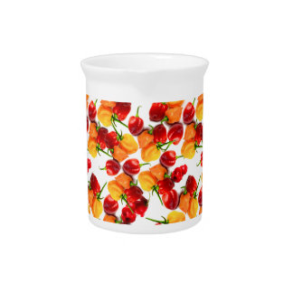 Habanero Chilies Red Peppers Orange Hot Food Beverage Pitchers