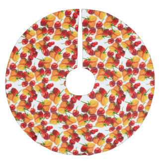 Habanero Chilies Red Peppers Orange Hot Food Brushed Polyester Tree Skirt