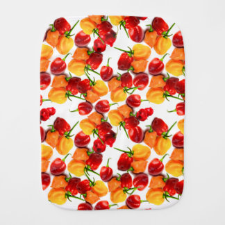 Habanero Chilies Red Peppers Orange Hot Food Burp Cloth