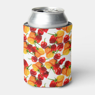 Habanero Chilies Red Peppers Orange Hot Food Can Cooler