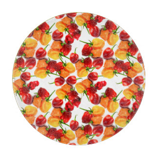Habanero Chilies Red Peppers Orange Hot Food Cutting Board