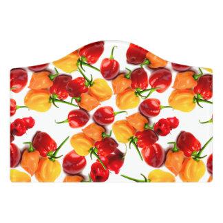 Habanero Chilies Red Peppers Orange Hot Food Door Sign