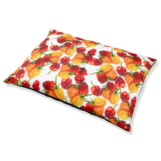 Habanero Chilies Red Peppers Orange Hot Food Pet Bed