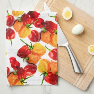 Habanero Chilies Red Peppers Orange Hot Food Tea Towel