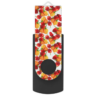 Habanero Chilies Red Peppers Orange Hot Food USB Flash Drive