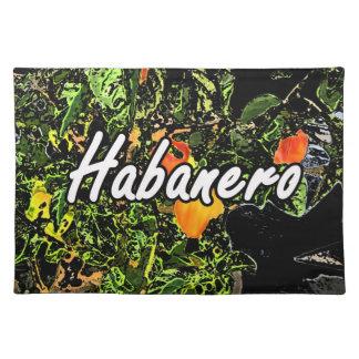 Habanero text against plant photograph placemats
