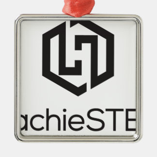 HachieSTEM Black Logo Silver-Colored Square Decoration