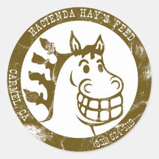 Hacienda Hay & Feed Brown Faded logo Round Sticker