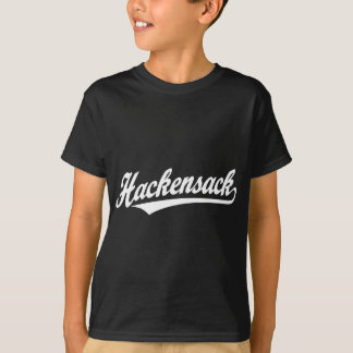 Hackensack script logo in white T-Shirt