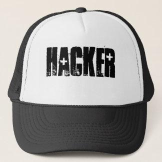 Hacker ( Black Print/White cap) Trucker Hat