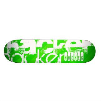 Hacker; Neon Green Stripes Skateboards