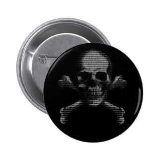 Hacker Skull and Crossbones 6 Cm Round Badge
