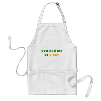 had me at g-day! adult apron