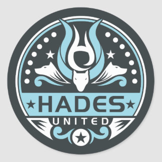 Hades United Logo Navy Blue Round Sticker