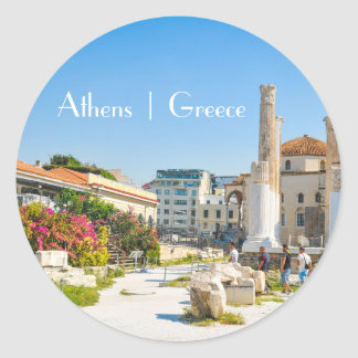 Hadrian Library in Athens, Greece Classic Round Sticker