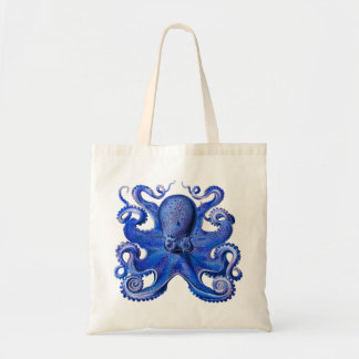 Haeckel Octopus Blue Budget Tote Bag