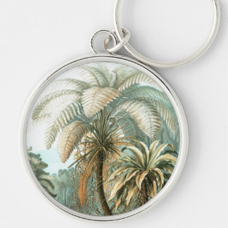 Haeckel Palm Tree Silver-Colored Round Key Ring