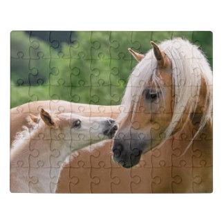 "Haflinger Cute Horses Foal and Mom Cuddling Kiss "" Jigsaw Puzzle"