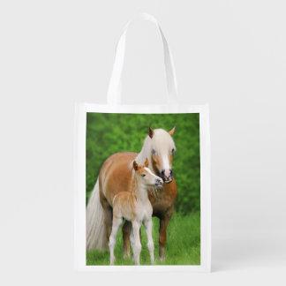 Haflinger Horse Cute Baby Foal Kiss Mum Pony Photo Reusable Grocery Bag
