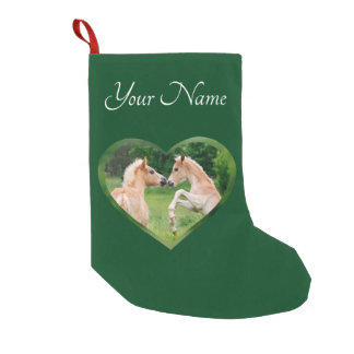 Haflinger Horses Cute Foals Friends Heart - Name - Small Christmas Stocking