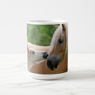 Haflinger Horses Foal and Mare Cuddling, Photo _ Coffee Mug