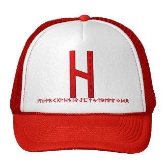 Hagalaz Rune red Trucker Hats