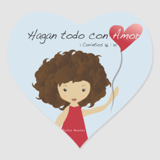 Hagan todo con amor heart sticker