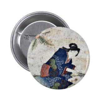Hagatame New Years ritual by Totoya Hokkei Pinback Buttons