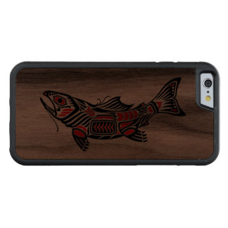 Haida Spirit Fish Carved Walnut iPhone 6 Bumper Case