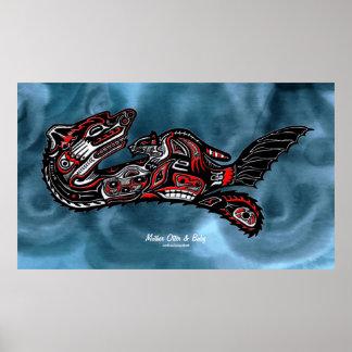 """HAIDA SPIRIT"" Mother Otter & Baby Haida Art Print"