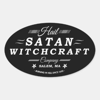 Hail Satan Salem Witchcraft Vintage Logo Oval Sticker