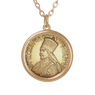 Haile Selassie Empire OF Ethiopia Rastafari chain Gold Plated Necklace