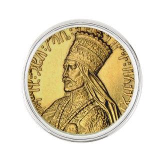 Haile Selassie Lapel Pin Ancient Gold Design