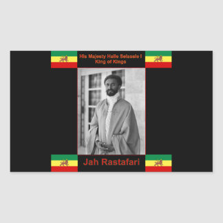 Haile Selassie the Lion of Judah, Jah Rastafari Rectangular Sticker