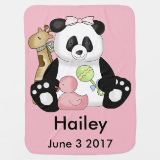 Hailey's Personalized Panda Baby Blanket