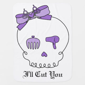 Hair Accessory Skull (Bow Detail Purple) Pram blankets
