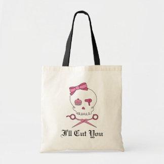 Hair Accessory Skull & Scissor Crossbones (Pink) Canvas Bags