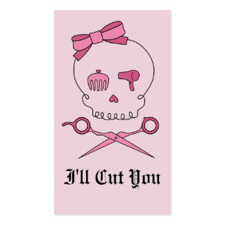 Hair Accessory Skull & Scissor Crossbones (Pink) Business Cards