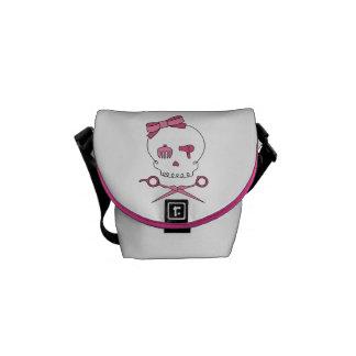 Hair Accessory Skull & Scissor Crossbones (Pink) Messenger Bags