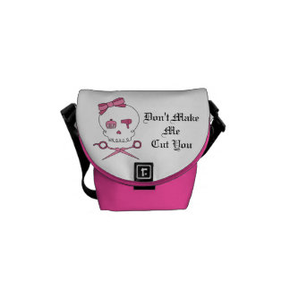 Hair Accessory Skull & Scissor Crossbones (Pink) Messenger Bag