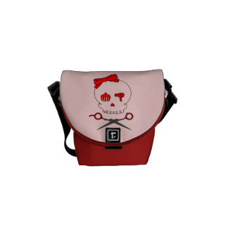 Hair Accessory Skull & Scissor Crossbones (Red #2) Courier Bag