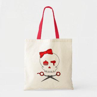 Hair Accessory Skull & Scissor Crossbones (Red) Tote Bag