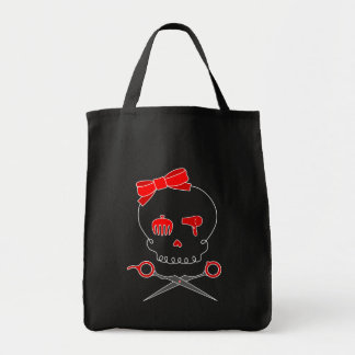 Hair Accessory Skull & Scissor Crossbones (Red) Tote Bags