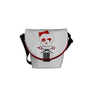 Hair Accessory Skull & Scissor Crossbones (Red) Courier Bags