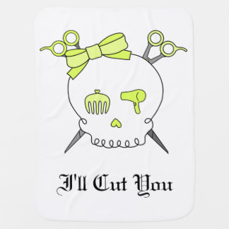 Hair Accessory Skull (Scissor Crossbones Yellow) Baby Blanket