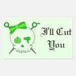 Hair Accessory Skull & Scissors (Lime Green #2)